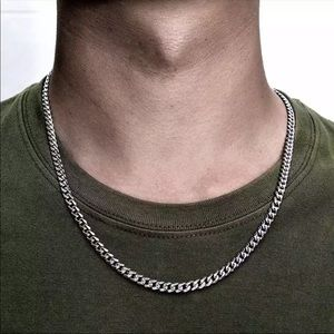 New 5mm Cuban chain gold silver necklace men's